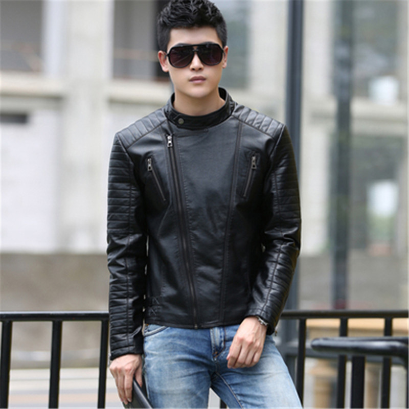 Mens Leather Jacket 2017 Fashion Mens Diagonal Zipper Slim Black Pu Leather Jackets Men Bomber Biker Jacket