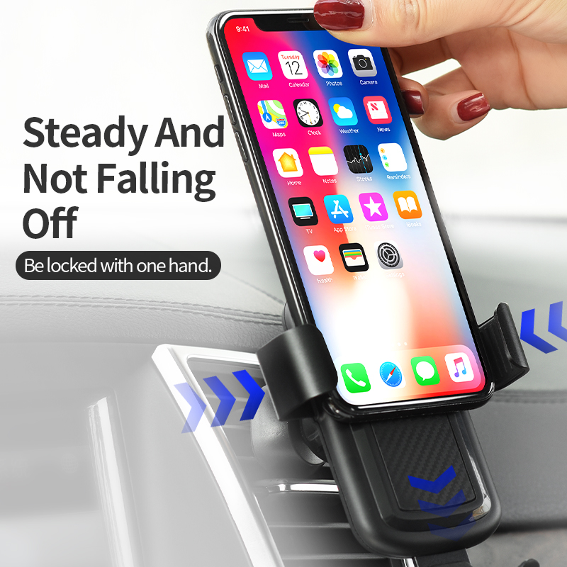 Image 5 - HOCO Car Qi Wireless Charger for iPhone Xs Max XR X 8 Plus Quick Charge Fast Wireless Car Mount Holder For Samsung S9 S8 2018-in Mobile Phone Chargers from Cellphones & Telecommunications