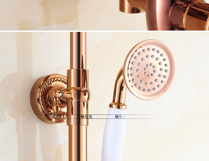 "HTB1.vk9jv2H8KJjy0Fcq6yDlFXag Luxury Rose Golden Bathroom Shower Faucet Wall Mounted 8"" Rain Showerhead Coming With Hand Spray Round Bar Mixer Shower Set"