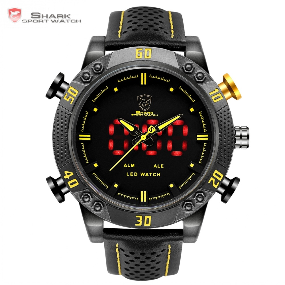 Kitefin Shark Sport Watch Black Yellow Dial 3ATM Waterproof LED Quartz Digital Leather Band Dual Time Men Military Watches/SH263 sawback angel shark sport watch mens black yellow digital dual movement 3d logo steel case led watches leather wristwatch sh204