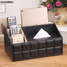 OUSSIRRO NY Tissue Box Multifunksjonell Serviettholder PU Leather Remote Controller Oppbevaringsboks Desk Organizer