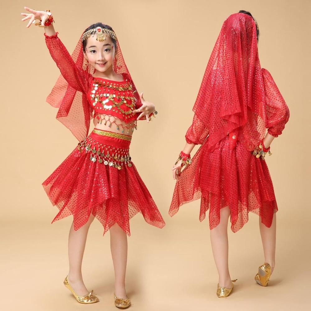 Kvalitet indiska Sari Flickor Klä Orientale Enfant Indiska Dräkter För Barn Orientaliska Dansdräkter Magdansdanserkläder Set
