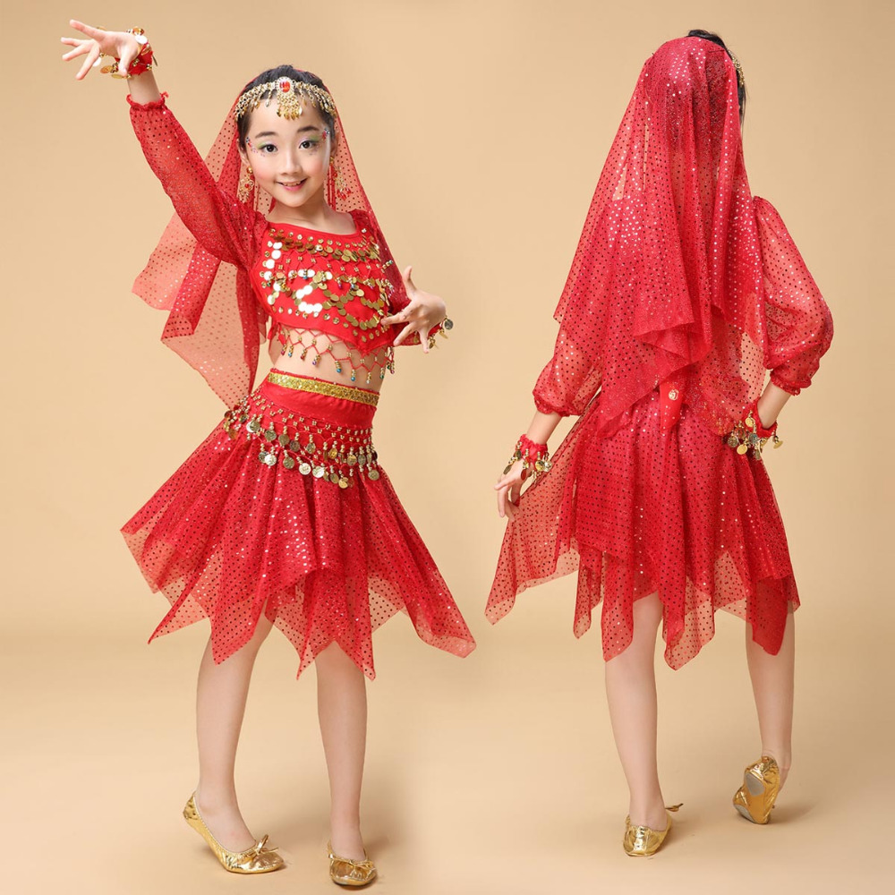 Quality <font><b>Indian</b></font> <font><b>Sari</b></font> Girls Dress Orientale Enfant <font><b>Indian</b></font> Costumes For <font><b>Kids</b></font> Oriental Dance Costumes Belly Dance Dancer Clothes Set image