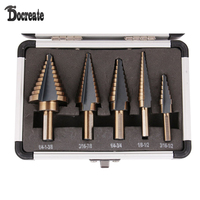 5pcs Set HSS COBALT MULTIPLE HOLE 50 Sizes STEP DRILL BIT SET With Aluminum Case