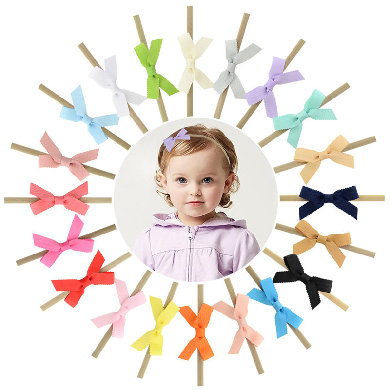 Baby Kids Grosgrain Small Ribbon Bow Tie Thin Nylon Headband Girls Hairbands Newborn Elastic Head Bands Hair Accessories