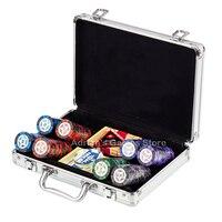 200шт Фишки для покера набор + дилер + All In + 2 карты игральные пластиковые + чемодан 200pcs Poker Chips Set 14г 40*3.4мм - Доступен для выбора деноминации