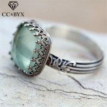 Anillos de joyería Vintage CC para mujer, piedra lunar tailandesa, anillo de novia casamiento compromiso, bisutería femenina, triangulación de envío CC2264