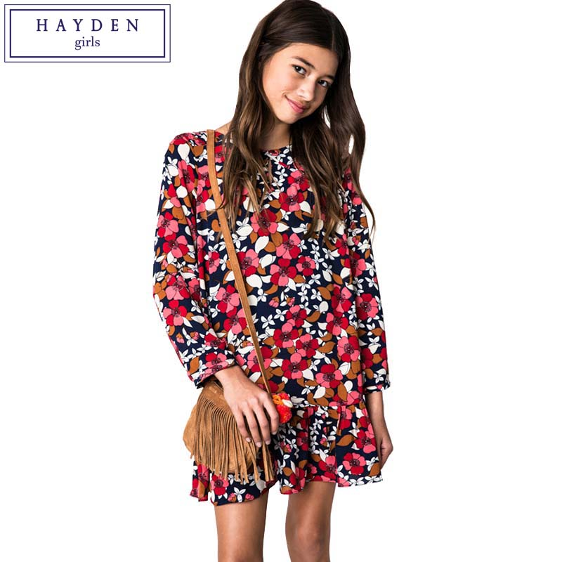 HAYDEN Teen Girls Floral Print Long Sleeve Chiffon Dress Kids European Fashion Style Dresses 7 8 9 10 11 12 13 14 Years Girl girl children floral blouse shirt spring autumn long sleeve doll collar girls thin chiffon blouses tops for teen 13 14 15y fb300
