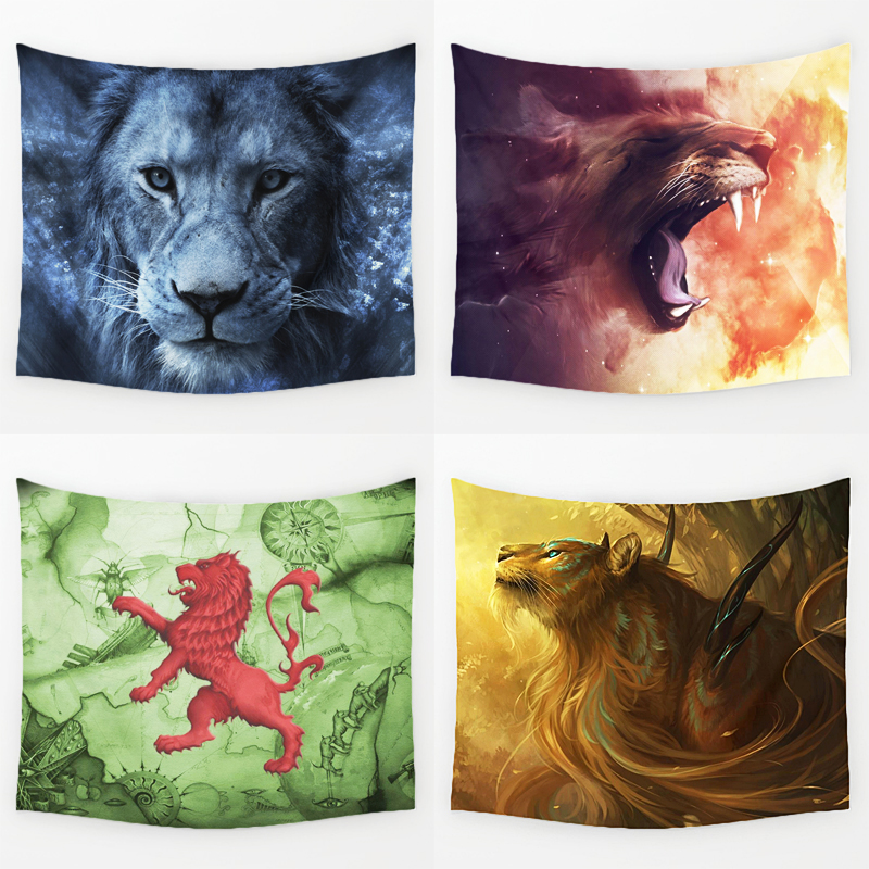 Comwarm Wild Magic Lion Series Pattern Polyester Tapestry Wall Hanging Gobelin Savage Lion Yoga Rug Beach Bedding Home Decor Art