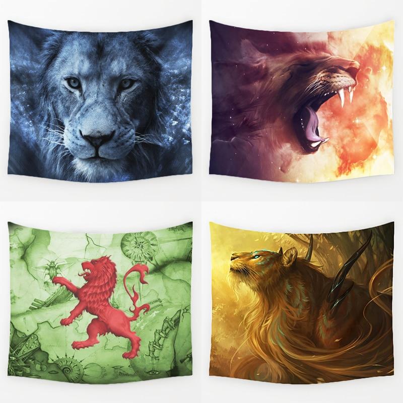 Comwarm wilden magie lion serie muster polyester tapisserie wandbehang gobelin savage lion yoga teppich strand bettwäsche wohnkultur kunst