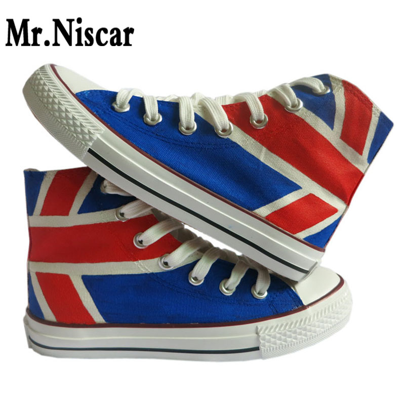 Men Unisex Shoes UK Flag Union Jack Original Design Hand Painted Shoes Footwear Breathable High Top Casual Canvas Sneakers men women converse puerto rico flag hand painted artwork high top canvas shoes unique sneakers