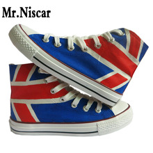 Men Unisex Shoes UK Flag Union Jack Original Design Hand Painted Shoes Footwear Breathable High Top Casual Canvas Sneakers yjrvfine wonderful meteor shower men casual shoes walking comfortable breathable unisex canvas pure hand painted shoes r1029m