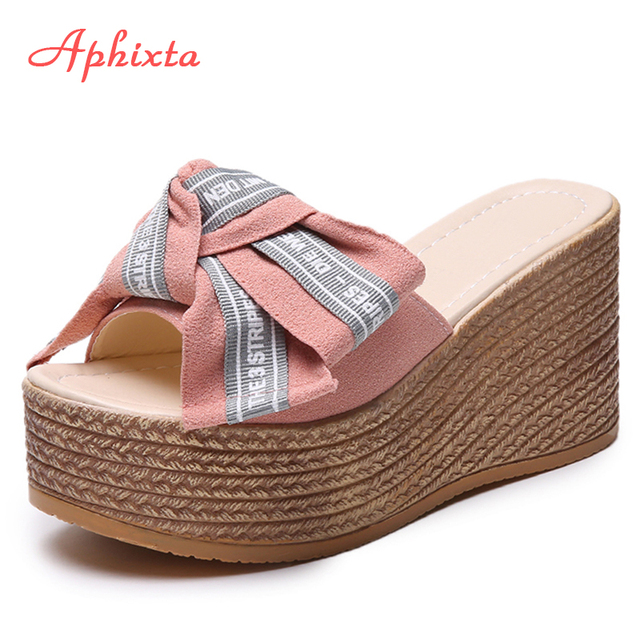 f5d1a424d203 Aphixta Platform Wedge Slippers Women Outside Shoes Clog Riband Butterfly-knot  Sandals Girls Flip Flop Slides Pantoufle Femme