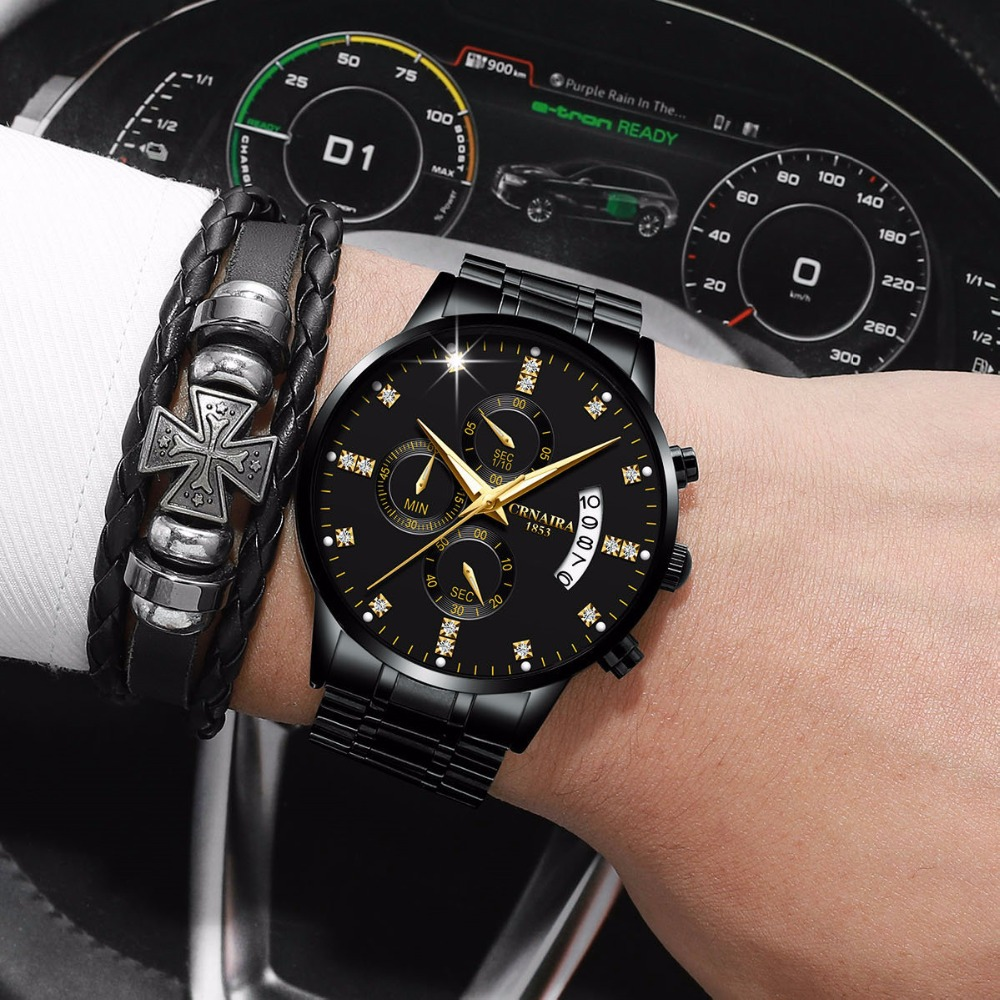 ブランドトップレロジオ masculino Crnaira ブランドダイヤモンドビジネスウォッチ防水クォーツメンズオム時計鋼ストリップ AAA 腕時計 -