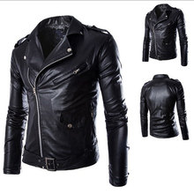 2019 Mens Spring Autumn Leather Jacket and Coat Black White Motorcycle Biker Pu with Oblique Zipper Street Outwear