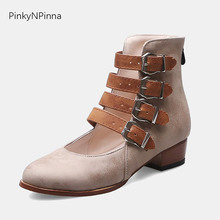 summer vintage women cowboy booties cutout multi buckle strap western Gothic punk med chunk heel designer ankle boots plus size ankle strap chunk heel sandals