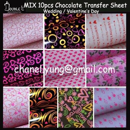 Valentine's Day Love Series Chocolate Transfer Sheet,10 MIX Chocolate Mold,Heart Design Chocolate Decoration,sugar Stamp Paper