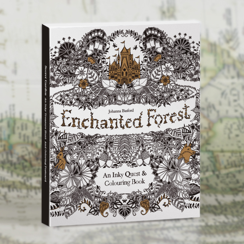 30 Pages The English version of Enchanted Forest Gel Coloring Book color pencil painting graffiti decompression