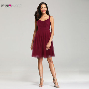 Burgundy Bridesmaid Dresses Short Ever Pretty EZ03044 A-line Sleeveless Lace Tulle Short Party Dresses for Wedding Guest Dresses Bridesmaid Dresses and Gowns