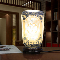 Blue Chinese Handmade Porcelain Table Lamps Hollow Out Wood Base For Bedroom Living Room Lighting Desk