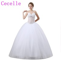 White Ball Gown Princess Wedding Dresses 2018 See Through Bodice Corset Back Beaded Sexy Bridal Gowns Custom Made High Quality