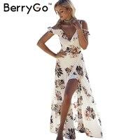 Berrygo花柄フリルシフォンマキシドレスストラップvネック分割ビーチ夏dressセクシーな背中の開いた女性dressロングvestidos