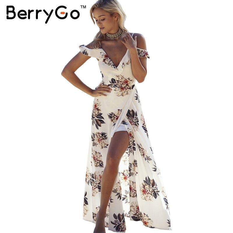 Berrygo estampado floral gasa de las colmenas vestidos maxi correa de cuello v d