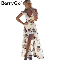BerryGo Floral Print Ruffles Chiffon Maxi Dresses Strap V Neck Split Beach Summer Dress Sexy Backless
