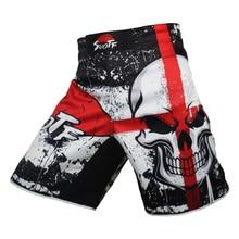 MMA Boxing Skull Motion Picture Cotton Loose Size Training Kickboxing Shorts Muay Thai Shorts Cheap Mma Shorts Boxing Trunks цена 2017