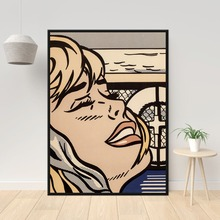 Famous Artist Roy Lichtenstein Oil Painting Print on Canvas Abstract Girl Wall Prints for Home Decor No Frame