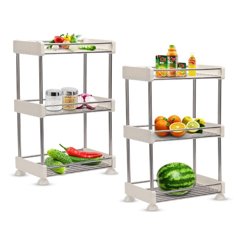 Removable Storage Rack Storage Shelf Bathroom Kitchen Refrigerator Side Storage Rack Multi-layer Stainless Steel Home Organizer