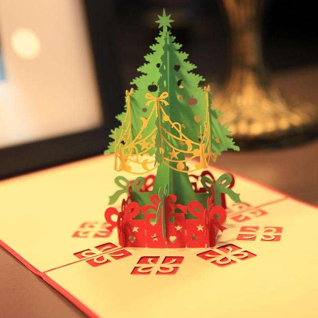 1pcs merry christmas tree 15cm 3d laser cut pop up paper handmade custom greeting cards christmas - Pop Up Decorated Christmas Tree