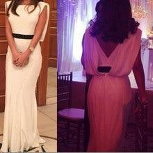 2015 Elegant  Mermaid  Evening Dresses  Chiffon Bckless Floor Length with Sashes