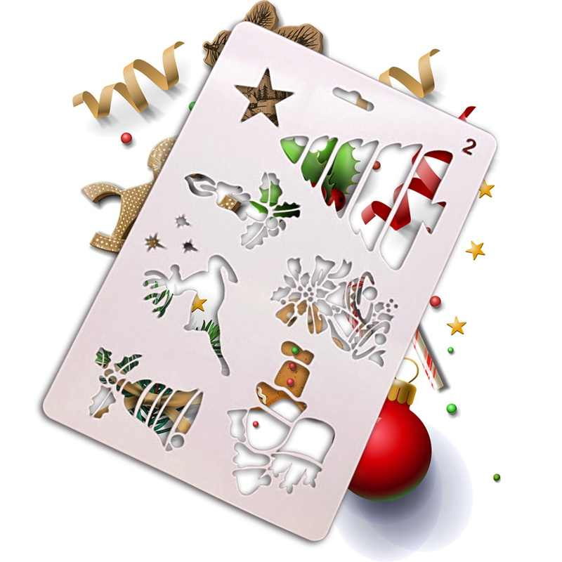 Christmas Card Drawing.Christmas Card Diy Stencil Christmas Tree Reindeer Santa Claus Painting Drawing Template Hollow Copy Drawing Stencil