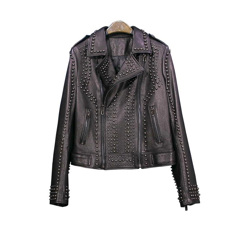 Real Sheepskin Jacket Women 2019 Streetwear Black Short Motorcycle   Leather   Jacket Top Quality Fancy Rivet Genuine   Leather   Jacket