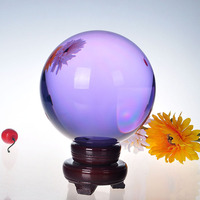 150mm Natural Quartz Lilac Crystal glass Feng Shui Chakra Healing Gemstone Sphere Magic Ball with wooden base for home decor