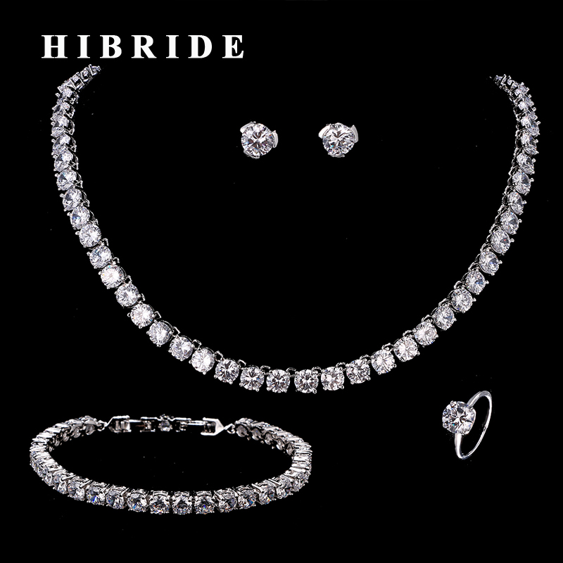 HIBRIDE Clear Round Crystal CZ Stone Around Necklace/Ring/Bracelet/Earring Sets Women Wedding Bridal Jewelry Set N-208HIBRIDE Clear Round Crystal CZ Stone Around Necklace/Ring/Bracelet/Earring Sets Women Wedding Bridal Jewelry Set N-208