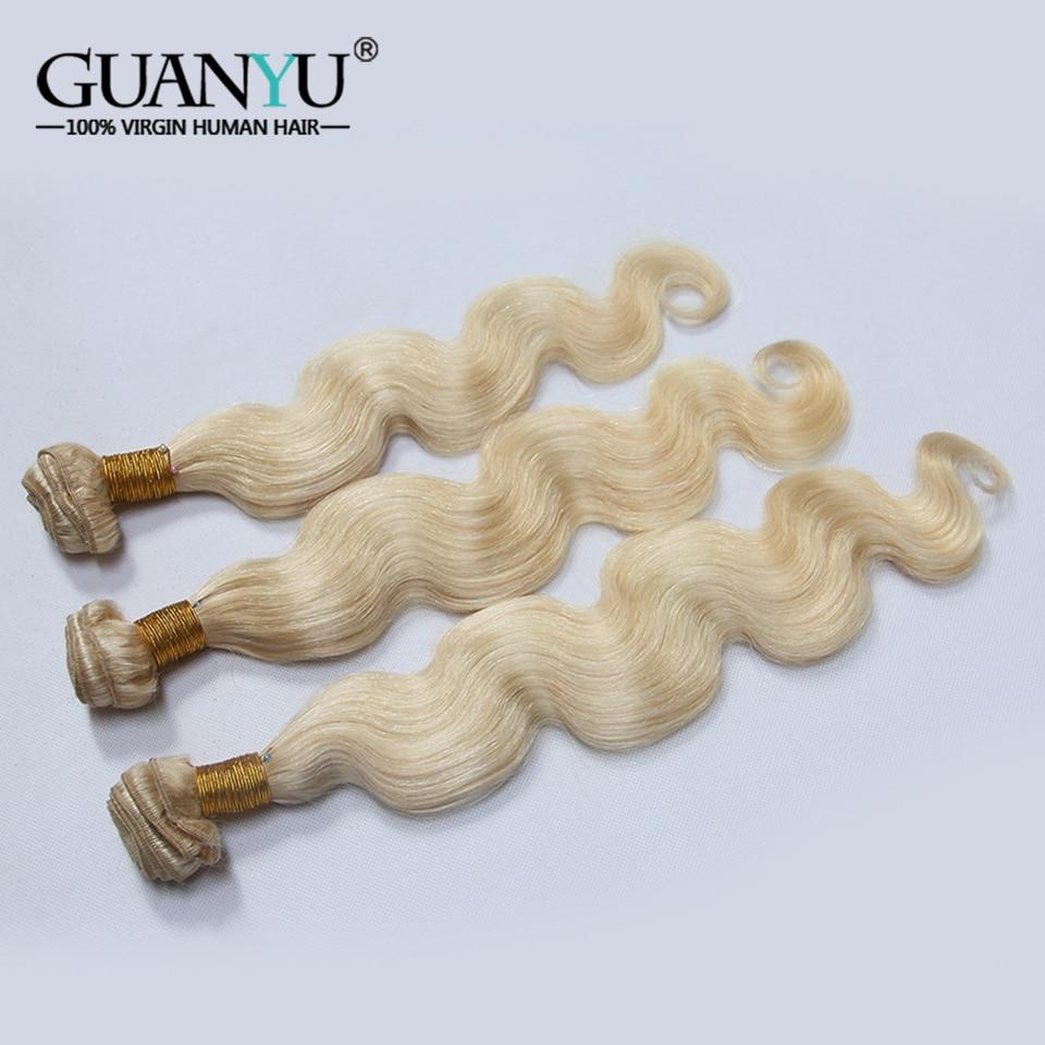 Guanyuhair Brazilian Blonde Body Wave 613 Remy Hair Extension 100% Human Hair Weave 10 28 Inch 1/3/4 Platinum Blonde Hair Bundle