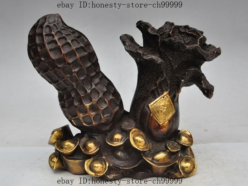 """10""""Chinese Feng Shui Bronze gilt Wealth yuanbao money Cabbage Peanut Rich Statue"""
