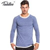 Taddlee Brand Long Sleeve T Shirt Men Solid Color Soft O Neck Sweatshirt Basic Active Stretch