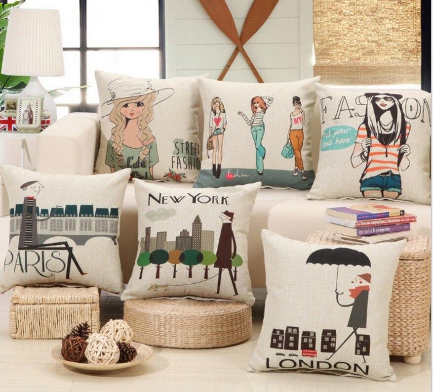 Fashion lady New York London Cotton Linen Cushion Cover Decorative Pillowcase Square 45x45cm Coffee bar Bed Pillow Cover B277