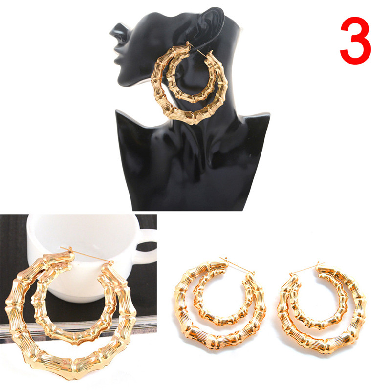 1 Pair Gold Bamboo Hoop-earring Women Hoop Earrings Basketball Wives Earrings Large Gold Color Big Hoop Earring 4 Styles