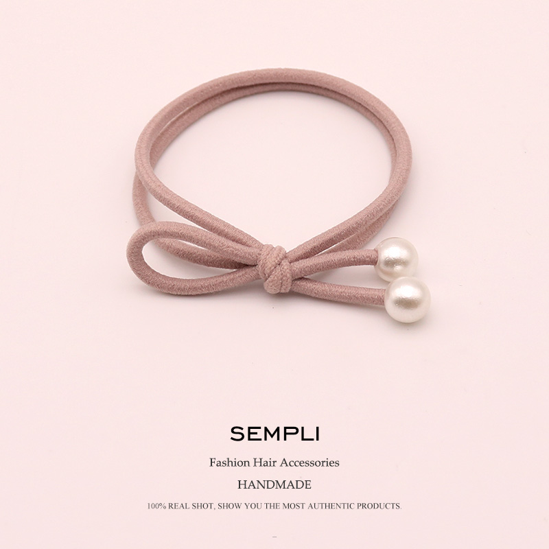 Sempli Nylon Rubber Bands Handmade Bow Elastic Hair Bands For Women Double Pearl Cute Rubber tight   Headwear   Accesorios scrunchie