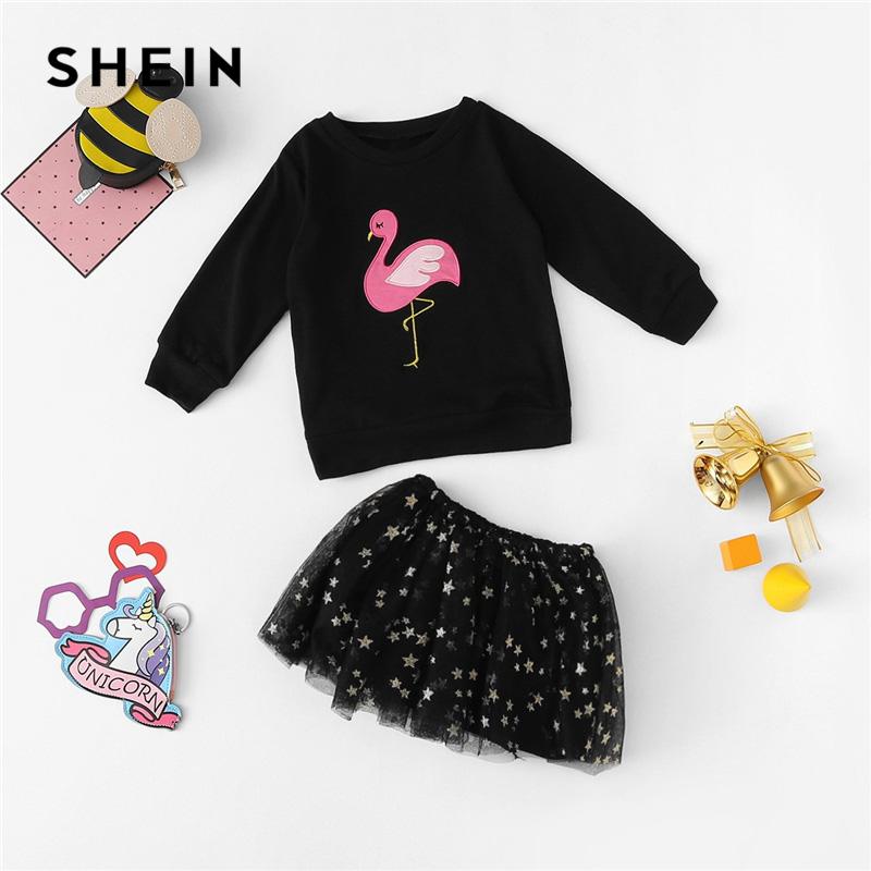 SHEIN Kiddie Black Toddler Girls Embroidery Flamingo Print Top With Mesh Skirt Set 2019 Spring Long Sleeve Casual Kid Clothes simple style women s long sleeve round neck letter print sweatshirt