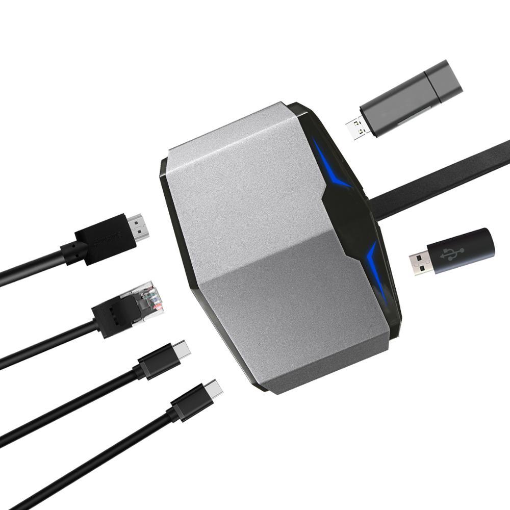 LTGEM USB HUB C Type-C to HDMI+Rj45+2 3.0 +2 3.1 Adapter Dock for MacBook Pro Accessories