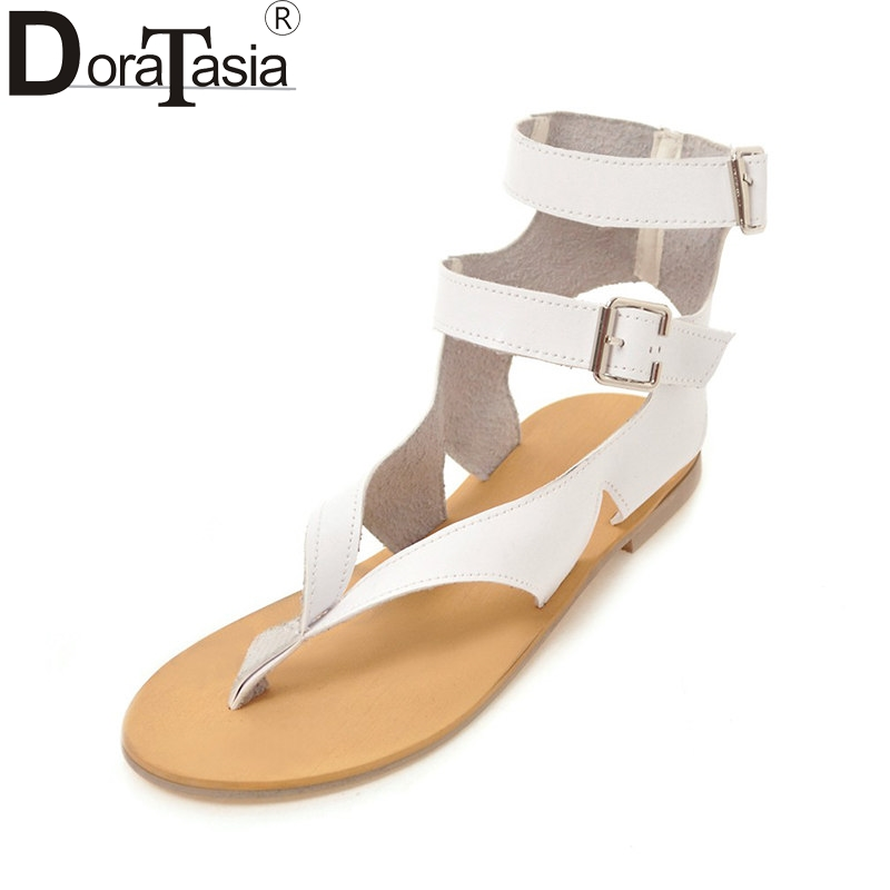 DoraTasia 2018 Summer New Arrival Fashion Plus Size 33-46 Women Sandals Buckle Strap Low Heels Shoes Woman Casual Footwear new women sandals low heel wedges summer casual single shoes woman sandal fashion soft sandals free shipping