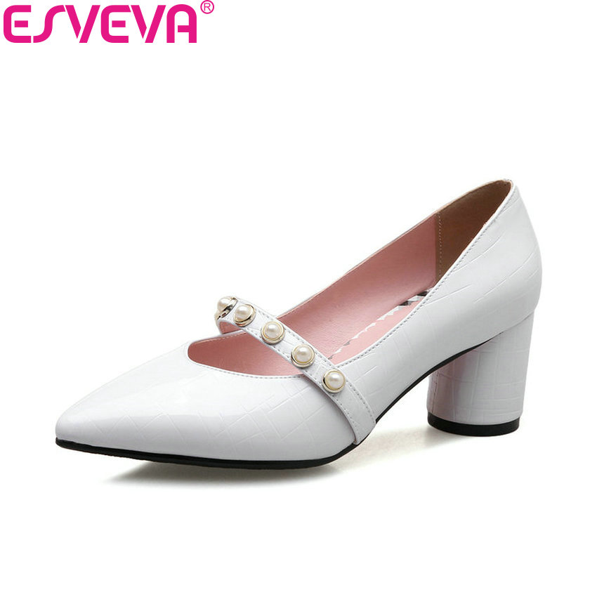 ESVEVA 2018 Women Pumps Out Door Square High Heels PU Leather Pointed Toe Bead Spring and Autumn Slip on Ladies Shoes Size 34-43 esveva 2018 women pumps elegant spring and autumn square high heels pointed toe fashion bling heels ladies shoes size 34 42