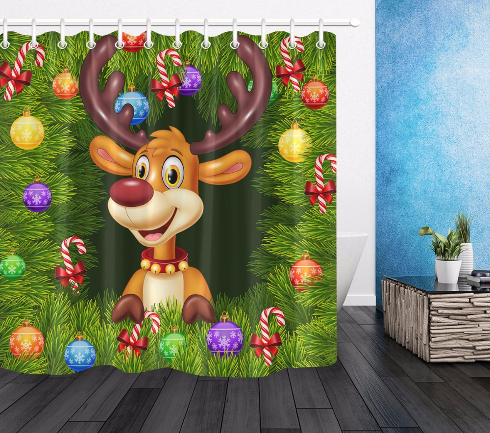 Cartoon Christmas Tree Elk Bathroom Waterproof Polyester Fabric Shower Curtain