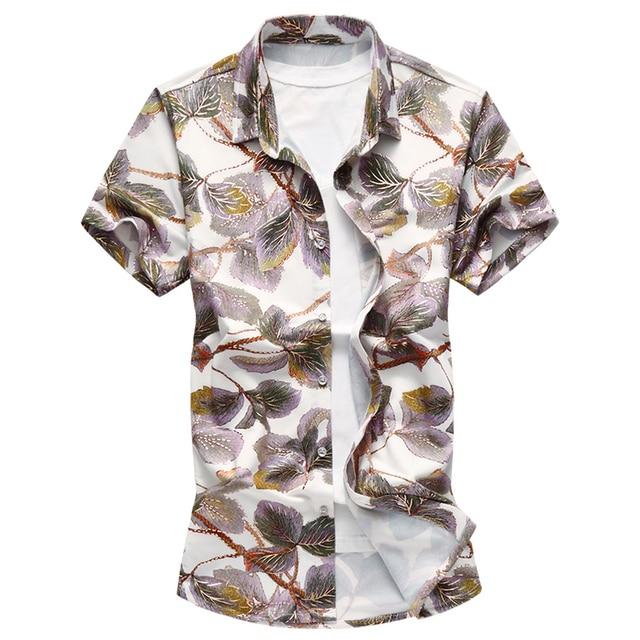 8834ecf194fe 2018 Summer Large Size Blouse Men s Flower Shirt 6XL 7XL high-quality Casual  Print Short Sleeve Hawaii Shirt Male Clothing