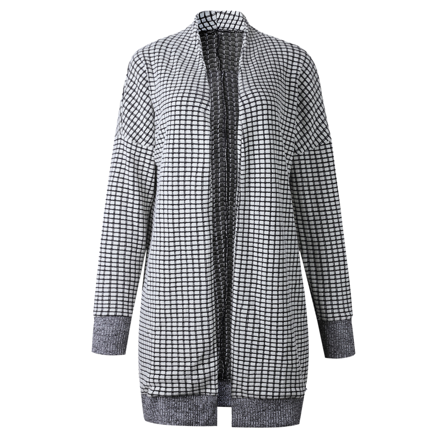 Women Fashion Check Long Cardigan Coat Jacket Ladies Casual Autumn Long Sleeve Coat Outwear Women Tops Black and white grid 5